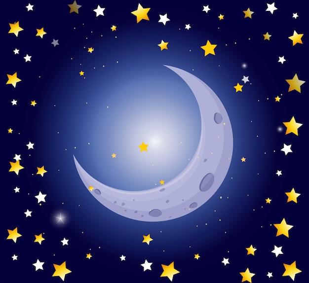 Escena nocturna con la luna y las estrellas