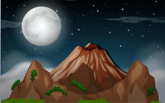 Una escena nocturna de montaña.