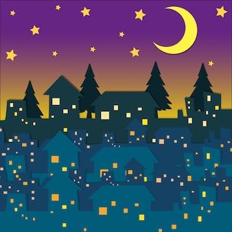 Escena nocturna con muchas casas.