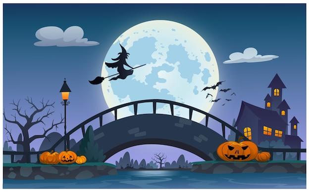 La escena nocturna en la noche de halloween es tan hermosa.