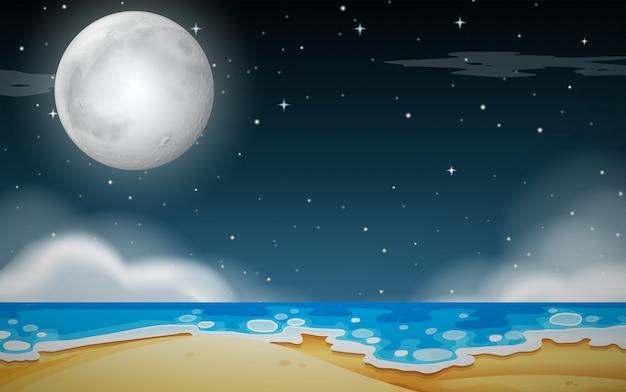 Una escena nocturna de playa.