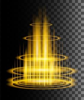 Escena nocturna redonda de rayos de brillo amarillo con chispas sobre fondo transparente