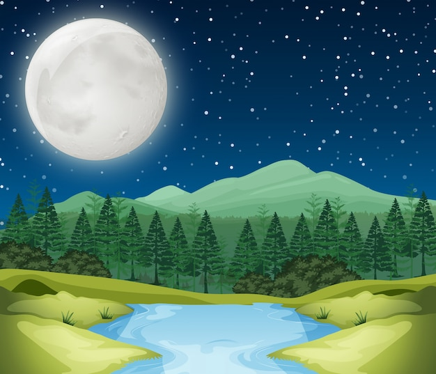 Una escena nocturna de rio