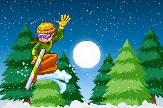 Escena nocturna de snowboard chico