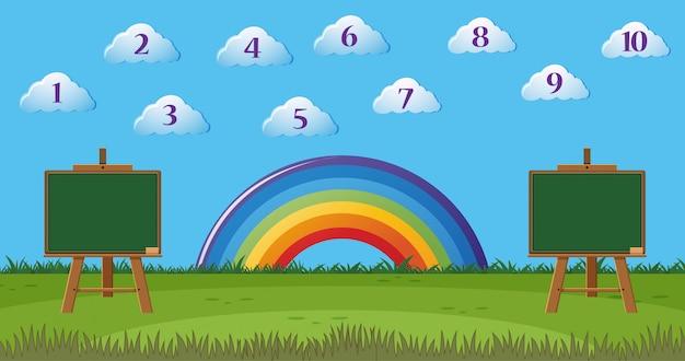 Escena con el número uno al diez en las nubes y dos tableros en blanco