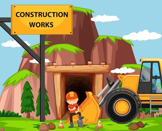 Escena de obra con hombre y bulldozer.