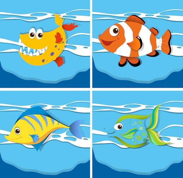 Escena del océano con animales marinos bajo el agua