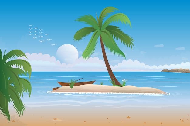 Escena del océano con cocotero en la playa y la ilustración del sol