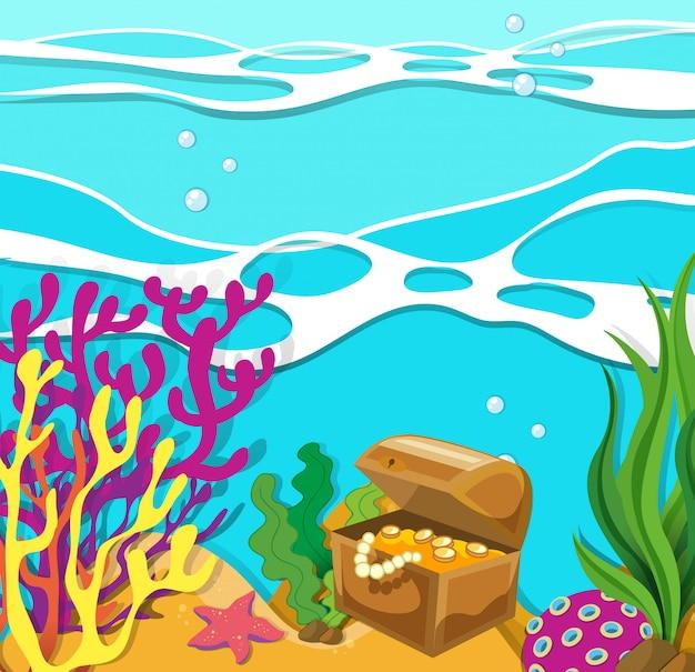 Escena bajo el océano con cofre del tesoro.