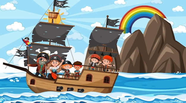 Escena del océano durante el día con niños piratas en el barco.