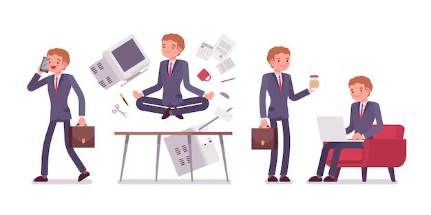 Escena de oficina con ocupado y relajado en yoga joven empresario