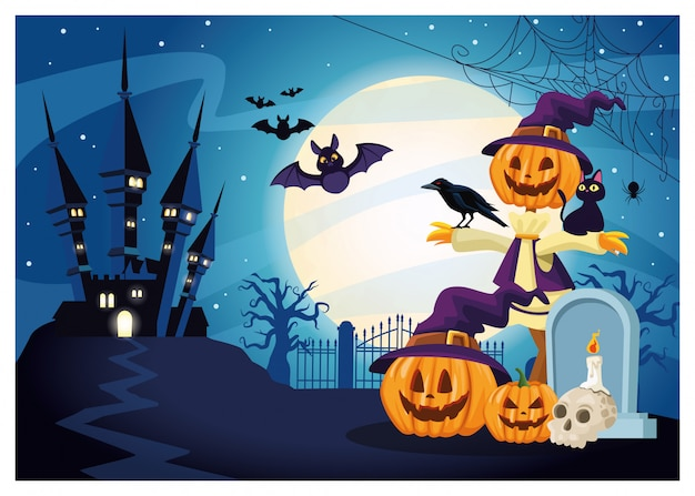 Escena oscura de halloween con calabaza espantapájaros