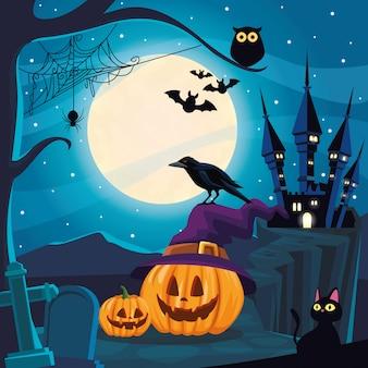 Escena oscura de halloween con calabazas en cementerio