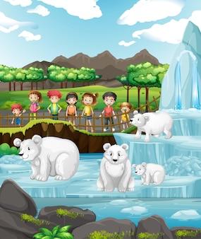 Escena con osos polares y niños en el zoológico