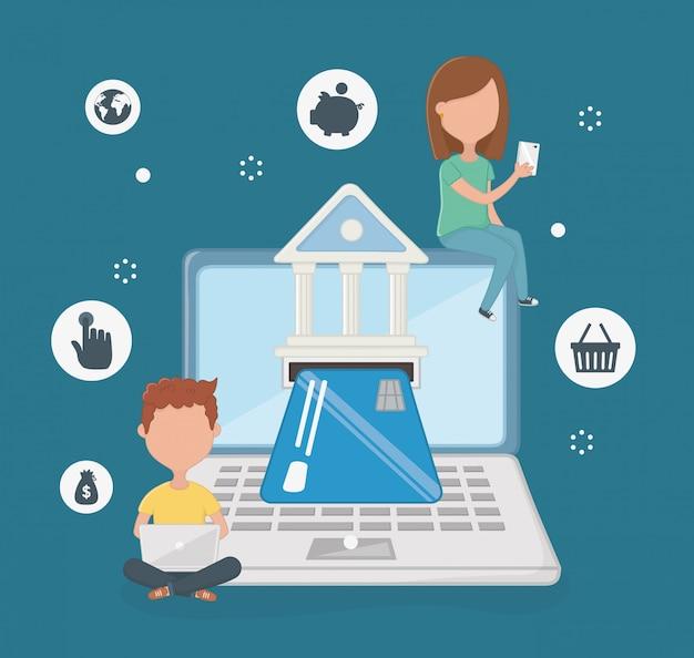 Escena de pago en línea