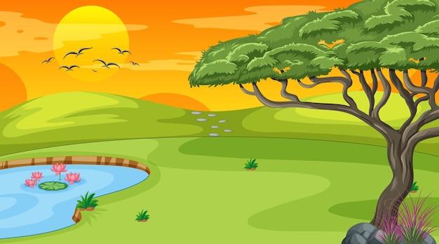 Escena de paisaje en blanco del parque natural al atardecer