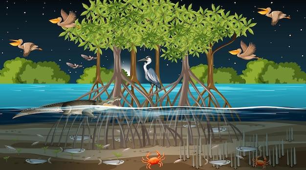 Escena de paisaje de bosque de manglar en la noche con muchos animales diferentes