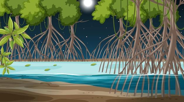 Escena de paisaje de bosque de manglar en la noche