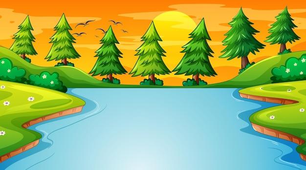 Escena de paisaje de bosque con río y muchos árboles.