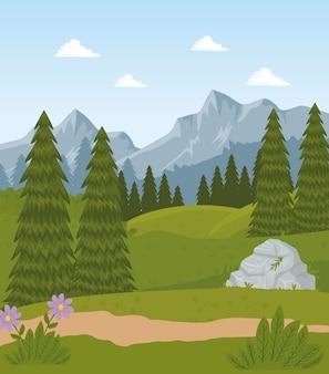 Escena de paisaje de campo de campo con diseño de árboles de flores y pinos