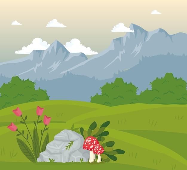 Escena de paisaje de campo de campo con diseño de flores y hongos.