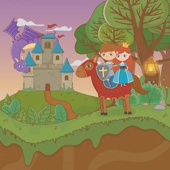Escena del paisaje de cuento de hadas con castillo y amantes pareja en caballo