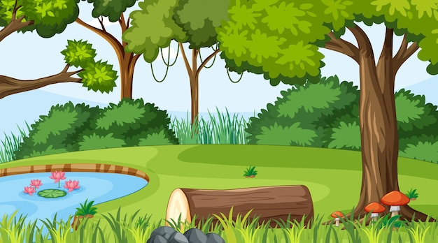 Escena del paisaje forestal durante el día con estanque y muchos árboles.