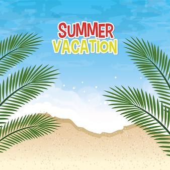 Escena de paisaje marino de vacaciones de verano