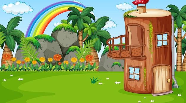 Escena de paisaje natural con casa de troncos de fantasía