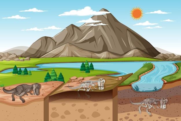 Escena del paisaje natural durante el día con fósiles de dinosaurios en capas de suelo
