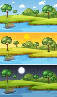 Escena del paisaje natural en diferentes momentos del día.