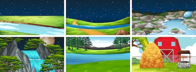 Escena de paisaje de la naturaleza del conjunto