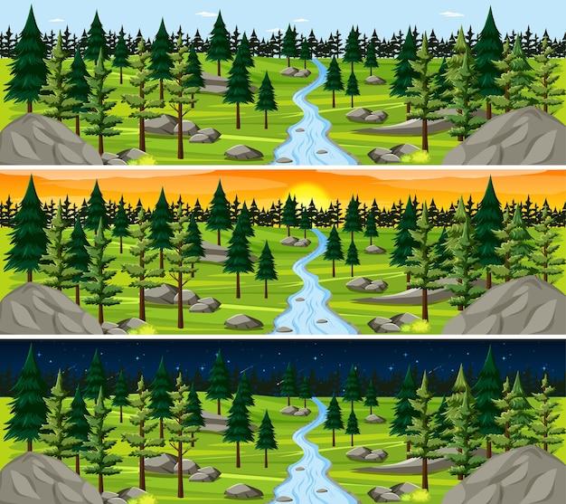 Escena del paisaje de la naturaleza en diferentes momentos del día.