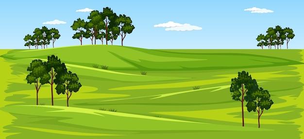 Escena de paisaje de naturaleza de prado verde en blanco