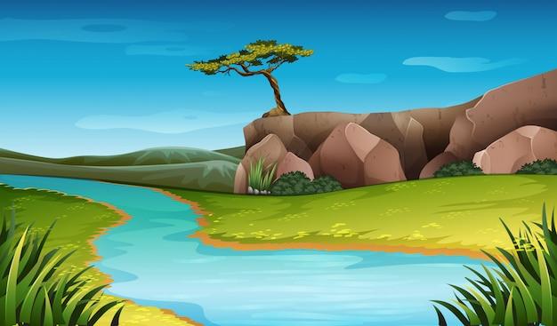 Escena de paisaje de naturaleza de río