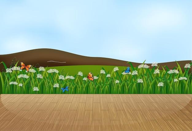 Escena de paisaje de naturaleza vacía con fondo de desenfoque de cielo