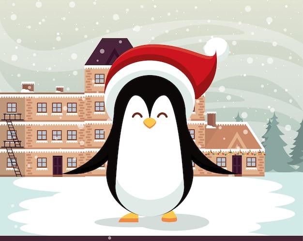 Escena de paisaje nevado de navidad con lindo pingüino