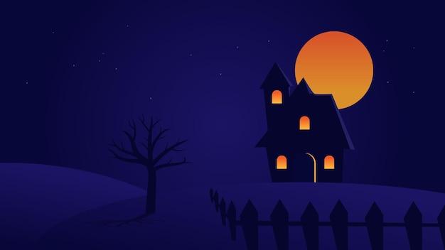 Escena de paisaje nocturno con casa en la colina y luna llena con estrellas en el cielo con espacio de copia para el diseño