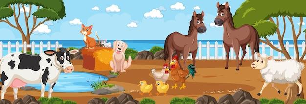 Escena de paisaje panorámico con varios animales de granja en la granja.