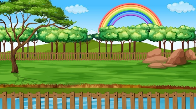 Escena del paisaje del parque con arco iris en el cielo.