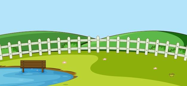 Escena de paisaje de parque vacío con estanque