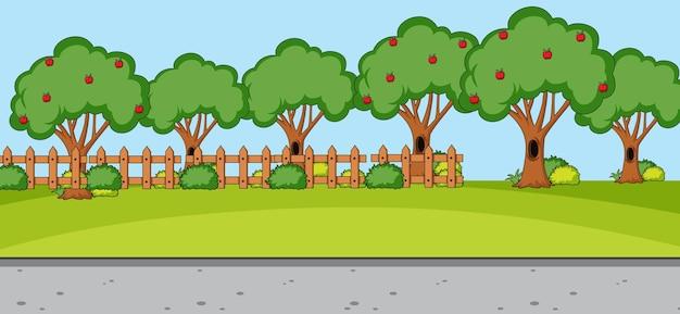 Escena de paisaje de parque vacío con muchos árboles