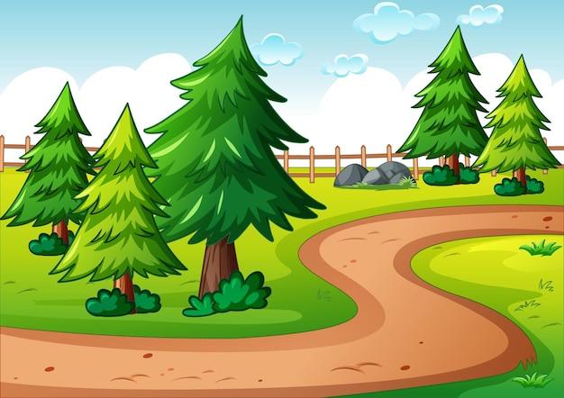 Escena del paisaje del parque vacío