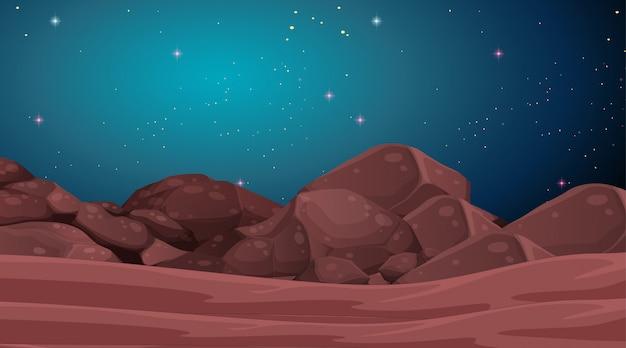 Escena del paisaje del planeta espacial