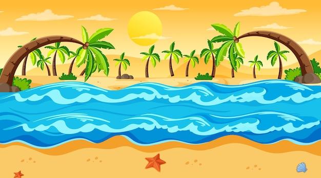 Escena de paisaje de playa tropical al atardecer vector gratuito