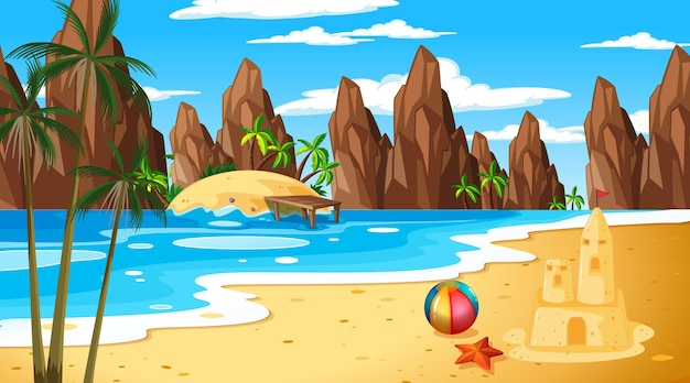 Escena de paisaje de playa tropical con castillo de arena