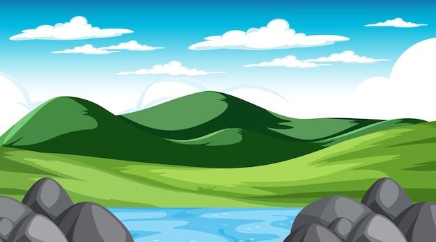 Escena de paisaje de pradera en blanco durante el día