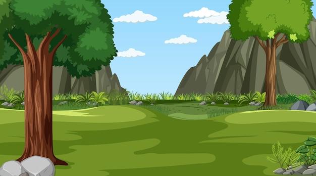 Escena de paisaje de pradera en blanco con muchos árboles y fondo de acantilado