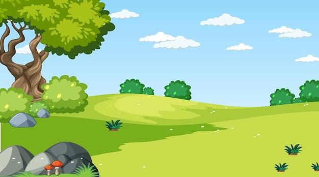 Escena de paisaje de pradera en blanco