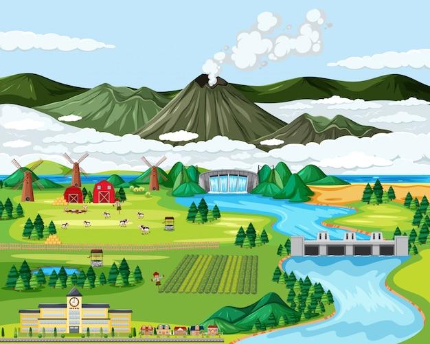 Escena del paisaje rural de agricultura